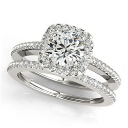 1.42 ctw Certified VS/SI Diamond 2pc Wedding Set Halo 14k White Gold - REF-287G2W