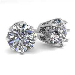3.09 ctw VS/SI Diamond Stud Solitaire Earrings Vintage 18K White Gold - REF-861Y3X