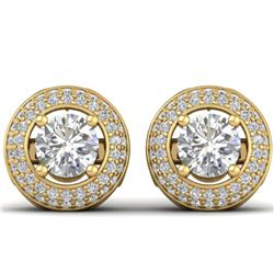 1.75 ctw VS/SI Diamond Art Deco Micro Stud Earrings 14k Yellow Gold - REF-245K5Y
