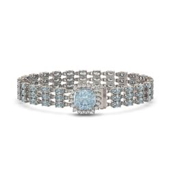 23.78 ctw Aquamarine & Diamond Bracelet 14K White Gold - REF-306G9W