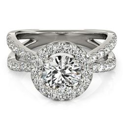 1.51 ctw Certified VS/SI Diamond Halo Ring 18k White Gold - REF-132A4N