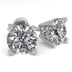 1.02 ctw VS/SI Diamond Stud Designer Earrings 14k White Gold - REF-97K2Y