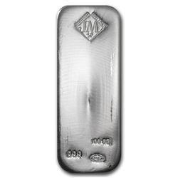 One piece 100 oz 0.999 Fine Silver Bar Johnson Matthey - 35629