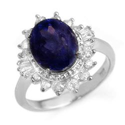4.85 ctw Blue Sapphire & Diamond Ring 18k White Gold - REF-103M6G