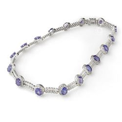 45.0 ctw Tanzanite & Diamond Necklace 14k White Gold - REF-1010H9R