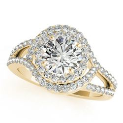 1.9 ctw Certified VS/SI Diamond Halo Ring 18k Yellow Gold - REF-318F2M
