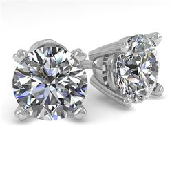 2.0 ctw VS/SI Diamond Stud Designer Earrings 18k White Gold - REF-440X2A