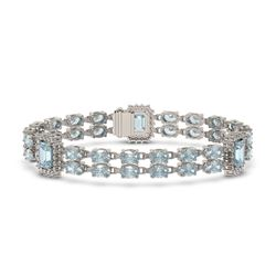 15.45 ctw Aquamarine & Diamond Bracelet 14K White Gold - REF-268Y4X