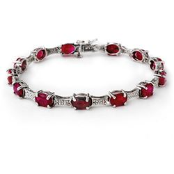 14.54 ctw Ruby & Diamond Bracelet 10k White Gold - REF-125K5Y