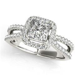 0.85 ctw Certified VS/SI Princess Diamond Halo Ring 18k White Gold - REF-106N3F