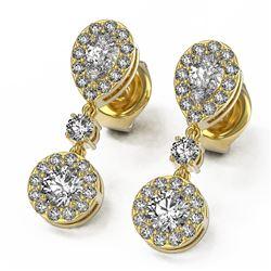 1.74 ctw Pear Diamond Designer Earrings 18K Yellow Gold - REF-193X8A
