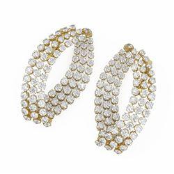 7.6 ctw Diamond Designer Earrings 18K Yellow Gold - REF-589R3K