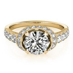 1.75 ctw Certified VS/SI Diamond Halo Ring 18k Yellow Gold - REF-315F2M