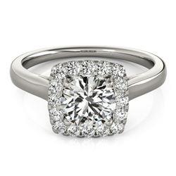 1.37 ctw Certified VS/SI Diamond Halo Ring 18k White Gold - REF-295H3R