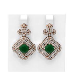 7.51 ctw Emerald & Diamond Earrings 18K Rose Gold - REF-306M2G