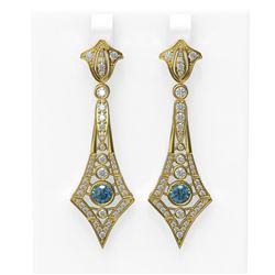 3.4 ctw Intense Blue Diamond Earrings 18K Yellow Gold - REF-303F8M