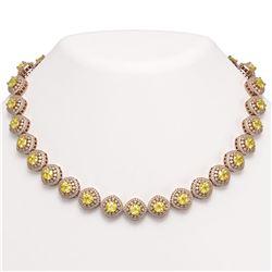 62.37 ctw Canary Citrine & Diamond Victorian Necklace 14K Rose Gold - REF-1782G9W