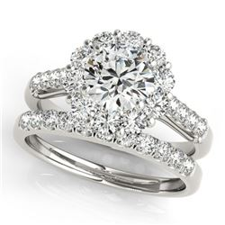 3.14 ctw Certified VS/SI Diamond 2pc Wedding Set Halo 14k White Gold - REF-586Y4X