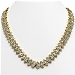 47.12 ctw Marquise Cut Diamond Micro Pave Necklace 18K Yellow Gold - REF-6554A6N