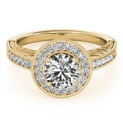 1.5 ctw Certified VS/SI Diamond Halo Ring 18k Yellow Gold - REF-364R2K