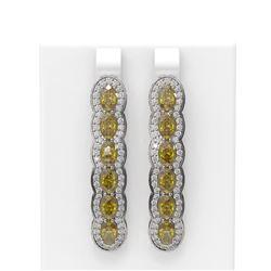 8.29 ctw Canary Citrine & Diamond Earrings 18K White Gold - REF-219A3N