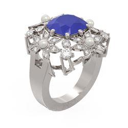 6.16 ctw Sapphire & Diamond Ring 18K White Gold - REF-254W5H