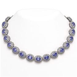 114.35 ctw Tanzanite & Diamond Victorian Necklace 14K White Gold - REF-3400Y2X