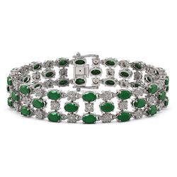 25.85 ctw Emerald & Diamond Bracelet 10K White Gold - REF-300X2A