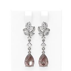 7.82 ctw Morganite & Diamond Earrings 18K White Gold - REF-525Y5X