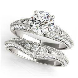 1.76 ctw Certified VS/SI Diamond 2pc Wedding Set Antique 14k White Gold - REF-178H2R