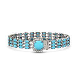 22.19 ctw Turquoise & Diamond Bracelet 14K White Gold - REF-281M8G