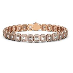13.56 ctw Emerald Cut Diamond Micro Pave Bracelet 18K Rose Gold - REF-1593Y8X