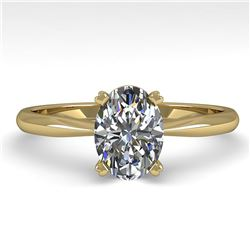 1 ctw Oval Cut VS/SI Diamond Engagment Designer Ring 14k Yellow Gold - REF-236M3G