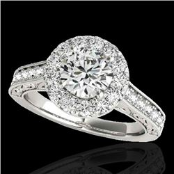 1.7 ctw Certified Diamond Solitaire Halo Ring 10k White Gold - REF-218Y2X
