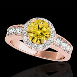 2.1 ctw Certified SI/I Fancy Intense Yellow Diamond Ring 10k Rose Gold - REF-259A3N