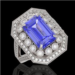 5.86 ctw Certified Tanzanite & Diamond Victorian Ring 14K White Gold - REF-345F5M
