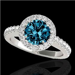 1.65 ctw SI Certified Fancy Blue Diamond Halo Ring 10k White Gold - REF-177M3G