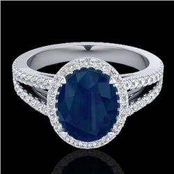 3 ctw Sapphire & Micro Pave VS/SI Diamond Halo Ring 18k White Gold - REF-78A2N