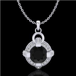 1.57 ctw Fancy Black Diamond Micro Pave Stud Necklace 18k White Gold - REF-118W2H