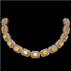 110.45 ctw Canary Citrine & Diamond Victorian Necklace 14K Rose Gold - REF-2357G6W