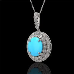 8.97 ctw Turquoise & Diamond Victorian Necklace 14K White Gold - REF-245K5Y