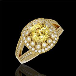 2.09 ctw Canary Citrine & Diamond Victorian Ring 14K Yellow Gold - REF-83Y6X