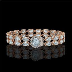 17.78 ctw Sky Topaz & Diamond Bracelet 14K Rose Gold - REF-209R3K