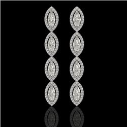 5.33 ctw Marquise Cut Diamond Micro Pave Earrings 18K White Gold - REF-739M6G