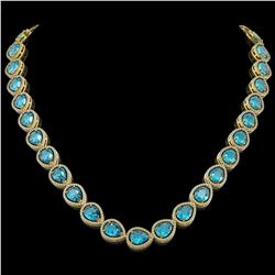 43.2 ctw Swiss Topaz & Diamond Micro Pave Halo Necklace 10k Yellow Gold - REF-609H8R