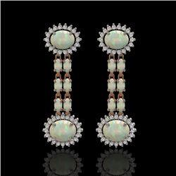 6.73 ctw Opal & Diamond Earrings 14K Rose Gold - REF-227M3G