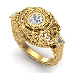 0.75 ctw VS/SI Diamond Solitaire Art Deco Ring 18k Yellow Gold - REF-200Y2X