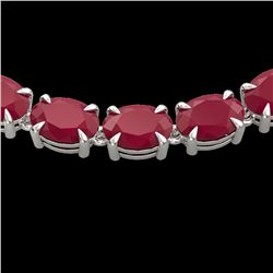 68 ctw Ruby Eternity Designer Necklace 14k White Gold - REF-327Y3X
