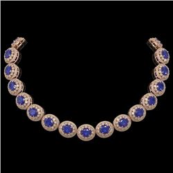 111.75 ctw Sapphire & Diamond Victorian Necklace 14K Rose Gold - REF-2935N8F