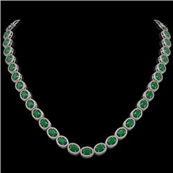 34.11 ctw Emerald & Diamond Micro Pave Halo Necklace 10k White Gold - REF-709K3Y